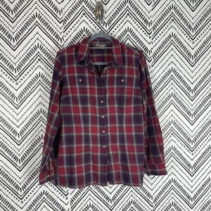 Duluth Red Green Plaid Flannel Button Front Shirt